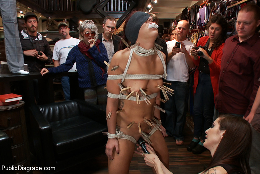 submissive slave in public