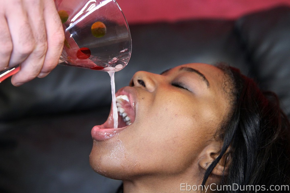 ebony cum drinking
